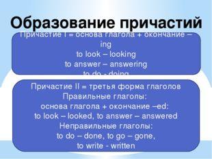 Образование причастий Причастие I = основа глагола + окончание –ing to look –