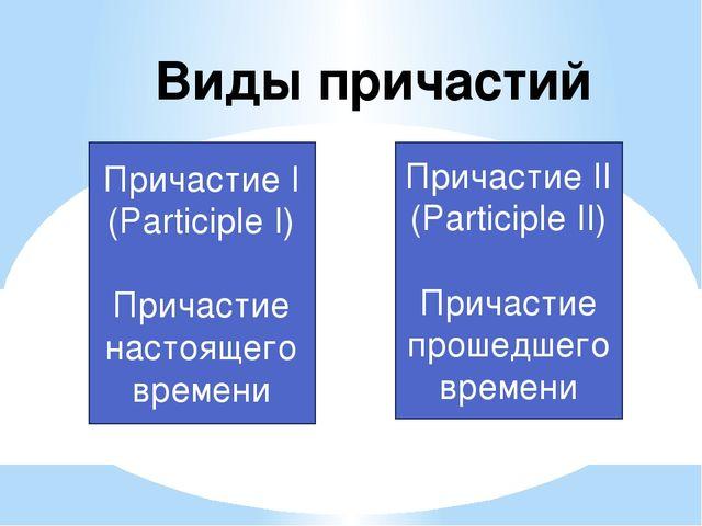 Виды причастий Причастие I (Participle I) Причастие настоящего времени Прича...
