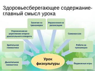 Здоровьесберегающее содержание- главный смысл урока