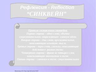 """Рефлексия - Reflection """"СИНКВЕЙН"""" Правила составления синквейна Первая строк"""