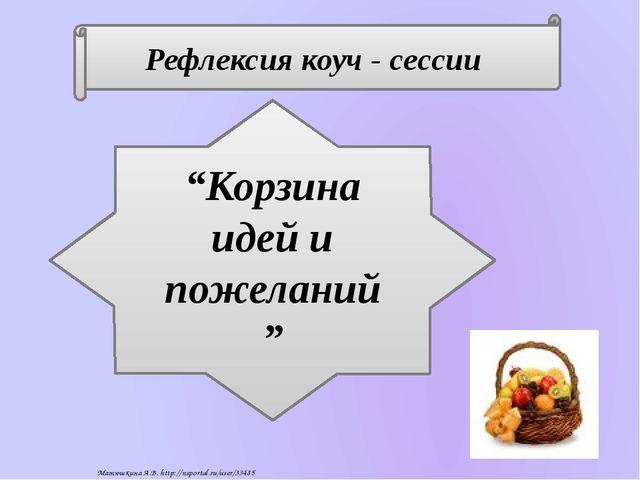 """Рефлексия коуч - сессии """"Корзина идей и пожеланий"""" Матюшкина А.В. http://nspo..."""