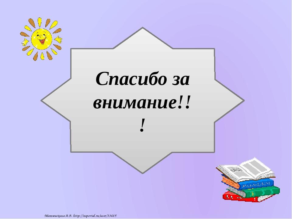 Спасибо за внимание!!! Матюшкина А.В. http://nsportal.ru/user/33485