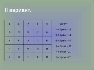 II вариант. ШИФР 1-я буква – 16 3-я буква – 14 5-я буква – 40 2-я буква – 36