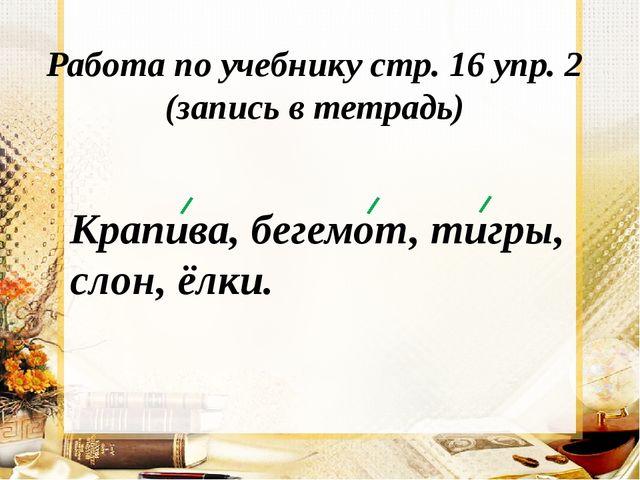 Работа по учебнику стр. 16 упр. 2 (запись в тетрадь) Крапива, бегемот, тигры,...