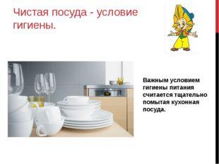 Чистая посуда - условие гигиены. Важным условием гигиены питания считается тщ