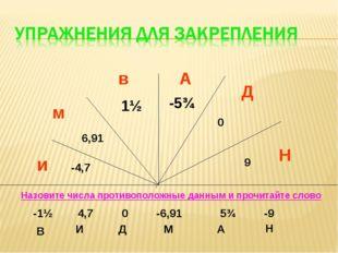 и -4,7 м 6,91 в 1½ А -5¾ Д 0 Н 9 Назовите числа противоположные данным и проч