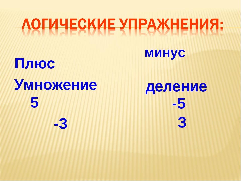 Плюс Умножение 5 -3 минус деление -5 3