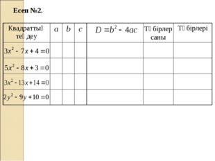 Есеп №2. Түбірлер саны Квадраттық теңдеуabcТүбірлері