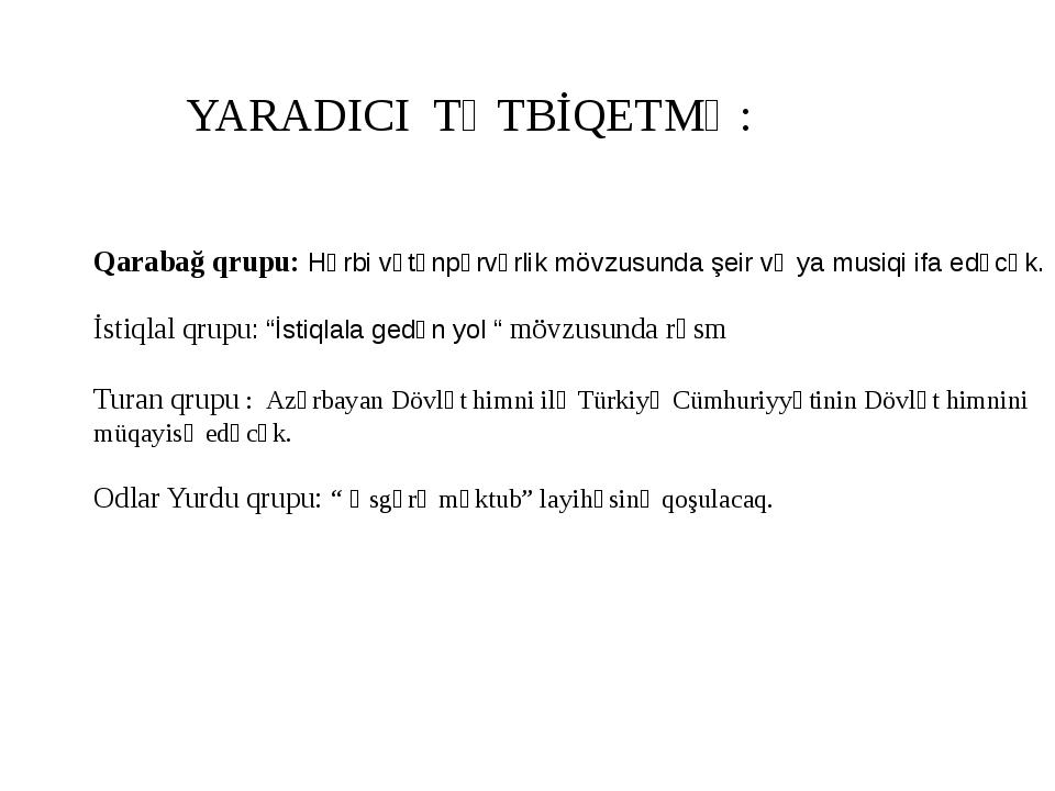 YARADICI TƏTBİQETMƏ: Qarabağ qrupu: Hərbi vətənpərvərlik mövzusunda şeir və y...