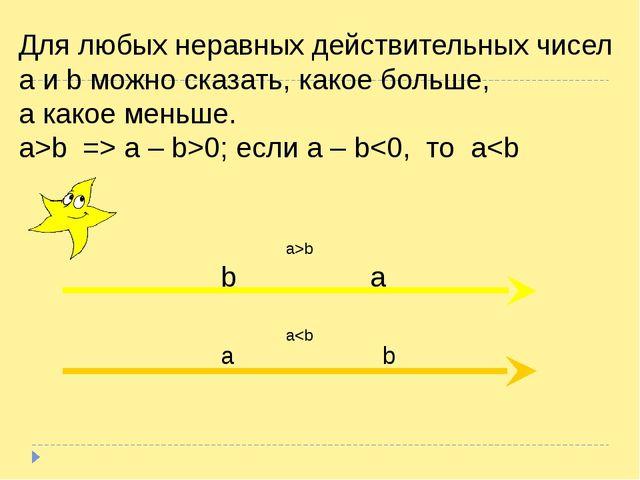 Для любых неравных действительных чисел a и b можно сказать, какое больше, а...