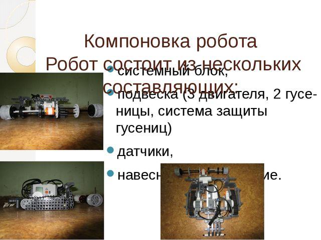 системный блок, подвеска (3 двигателя, 2 гусе-ницы, система защиты гусениц) д...