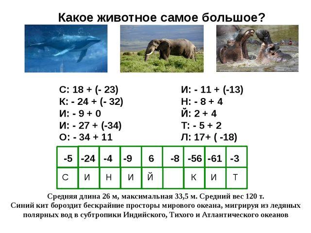 Какое животное самое большое? С: 18 + (- 23) К: - 24 + (- 32) И: - 9 + 0 И: -...