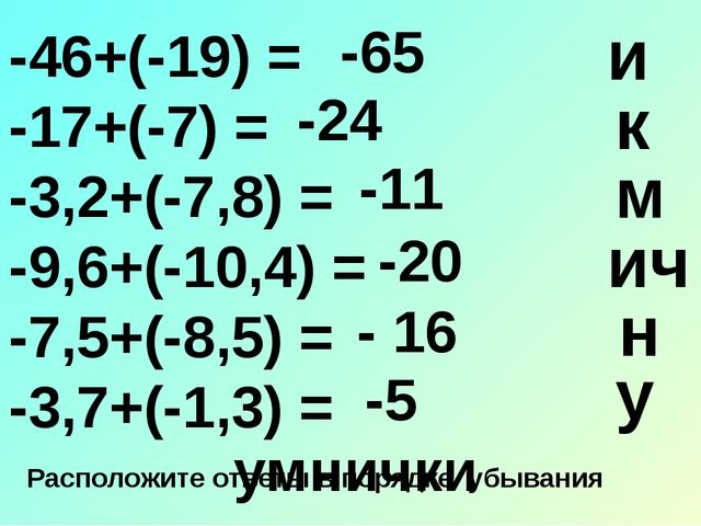-46+(-19) = -17+(-7) = -3,2+(-7,8) = -9,6+(-10,4) = -7,5+(-8,5) = -3,7+(-1,3...