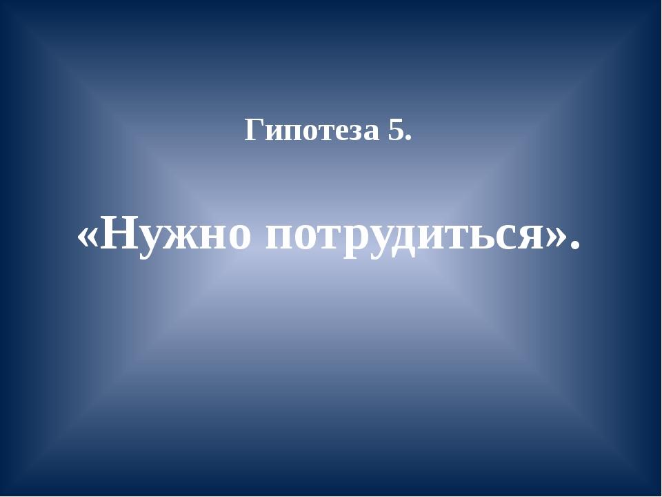 Гипотеза 5. «Нужно потрудиться».