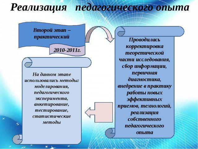 Реализация педагогического опыта Второй этап – практический 2010-2011г. На д...