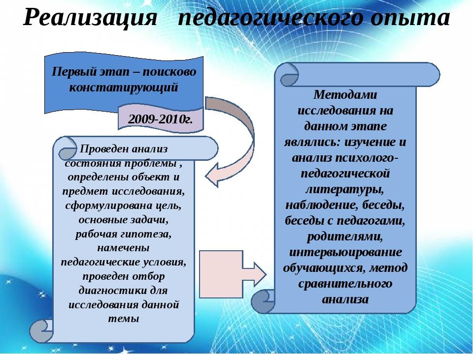 Реализация педагогического опыта Первый этап – поисково констатирующий 2009-...