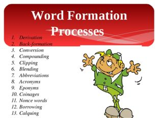 Word Formation Processes 1.Derivation 2.Back-formation 3.Conversion 4.Com