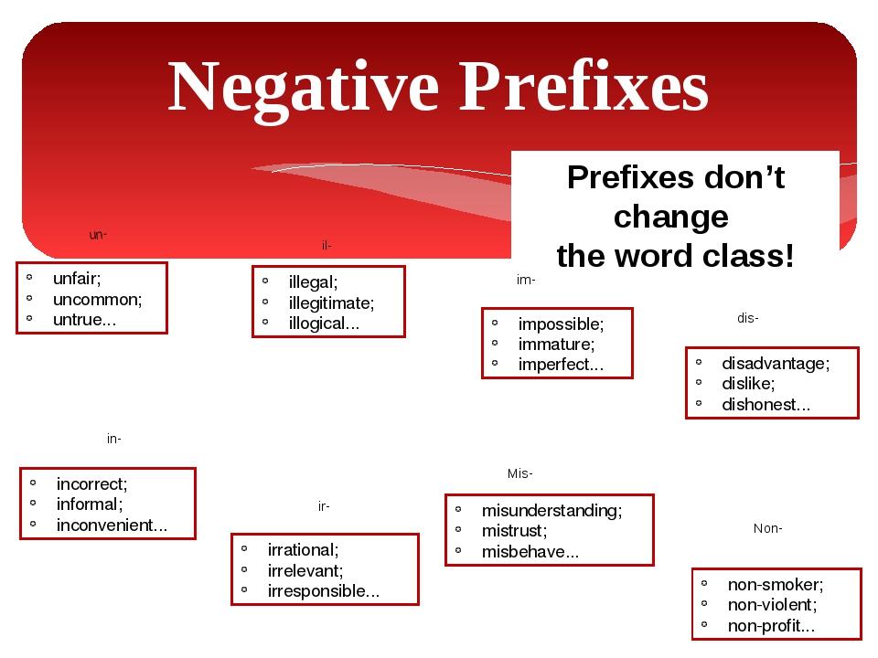 Prefixes don't change the word class! Negative Prefixes un- dis- im- ir- in-...
