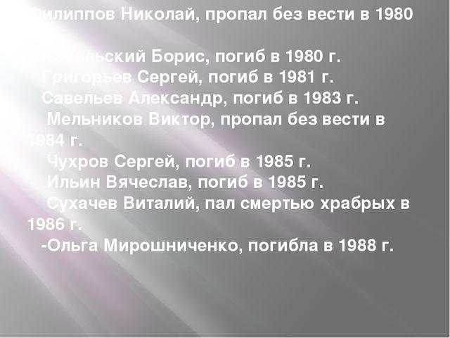 Филиппов Николай, пропал без вести в 1980 г. Ковальский Борис, погиб в 198...