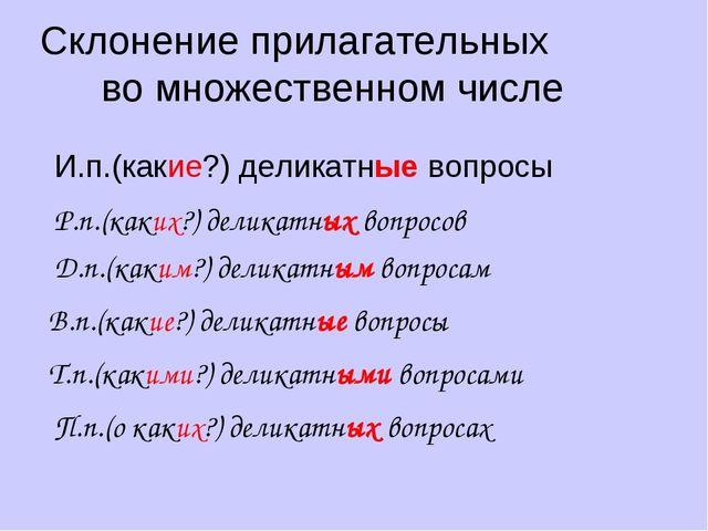 Склонение прилагательных во множественном числе И.п.(какие?) деликатные вопро...