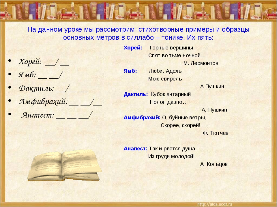 На данном уроке мы рассмотрим стихотворные примеры и образцы основных метров...