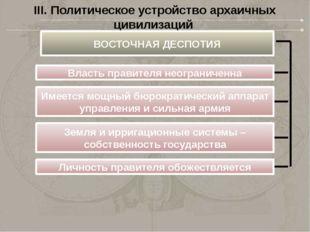 III. Политическое устройство архаичных цивилизаций ВОСТОЧНАЯ ДЕСПОТИЯ Власть