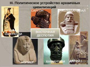 III. Политическое устройство архаичных цивилизаций НОРМЕР САРГОН ХАММУРАПИ АШ