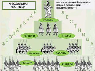 ФЕОДАЛЬНАЯ ЛЕСТНИЦА - это организация феодалов в период феодальной раздроблен