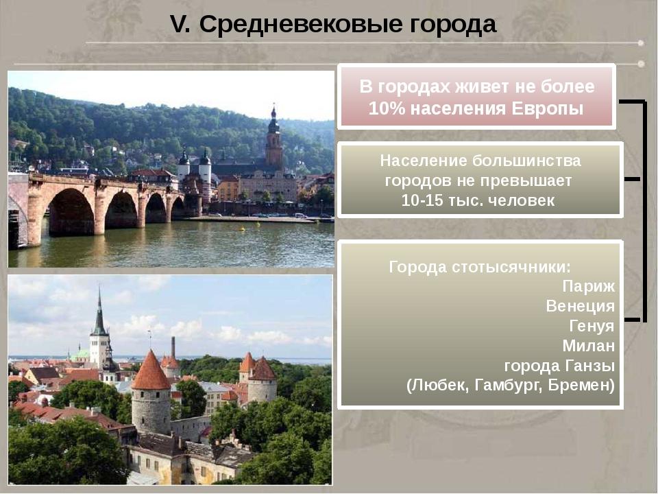 V. Средневековые города В городах живет не более 10% населения Европы Населен...