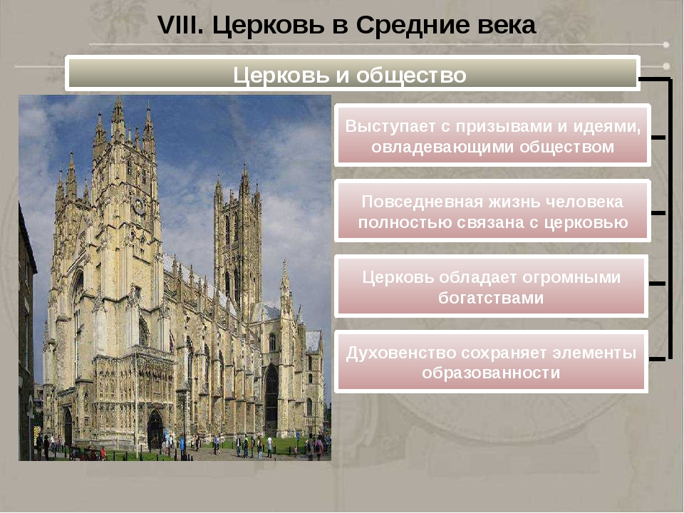 VIII. Церковь в Средние века Церковь и общество Выступает с призывами и идеям...