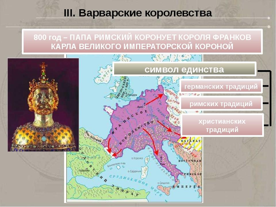 III. Варварские королевства 800 год – ПАПА РИМСКИЙ КОРОНУЕТ КОРОЛЯ ФРАНКОВ КА...