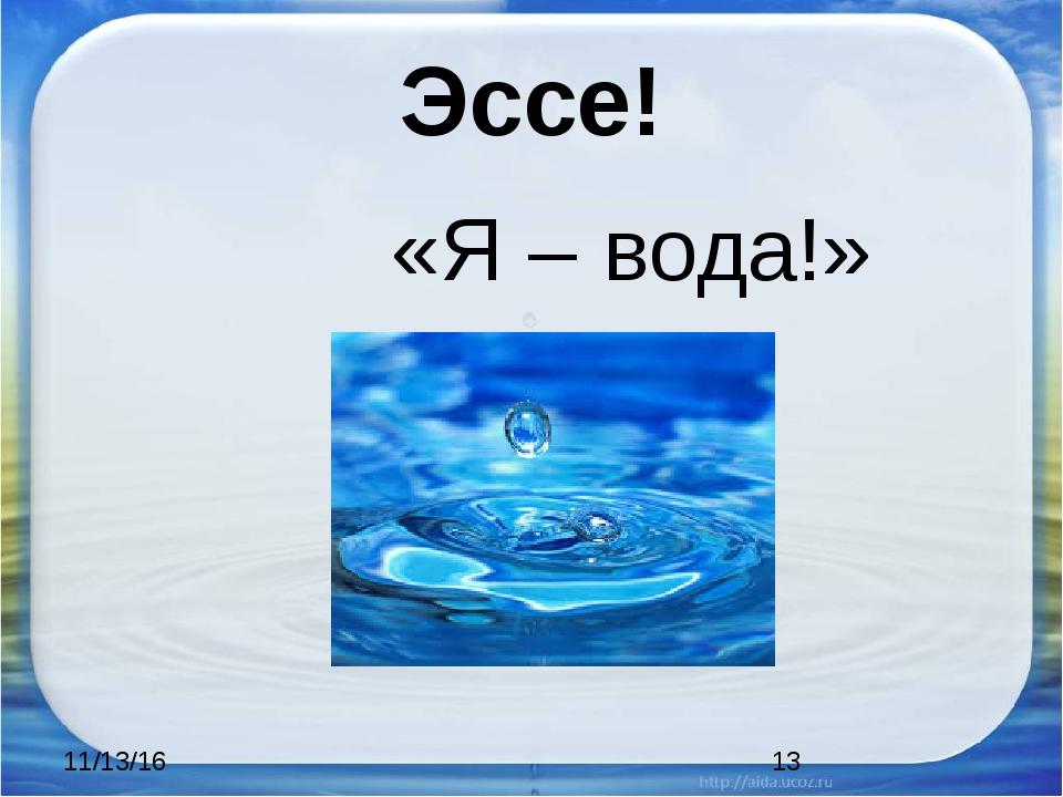 Эссе! «Я – вода!»