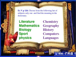 ExEEXE Ex V p 124. Choose from the following list of subjects only one and fi