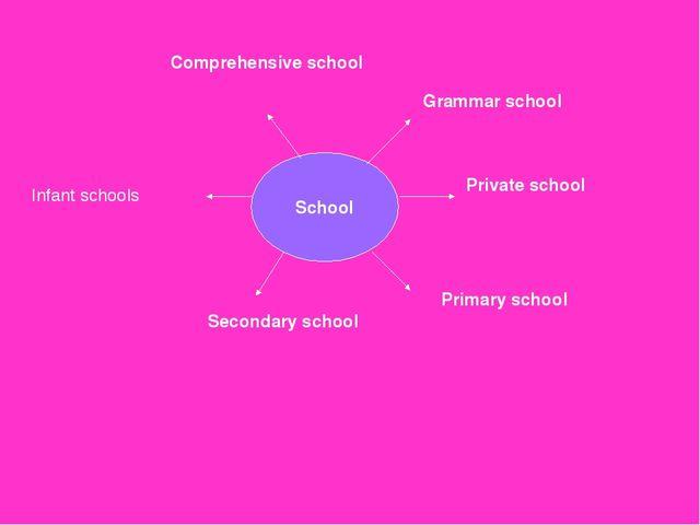School Grammar school Private school Primary school Comprehensive school Seco...