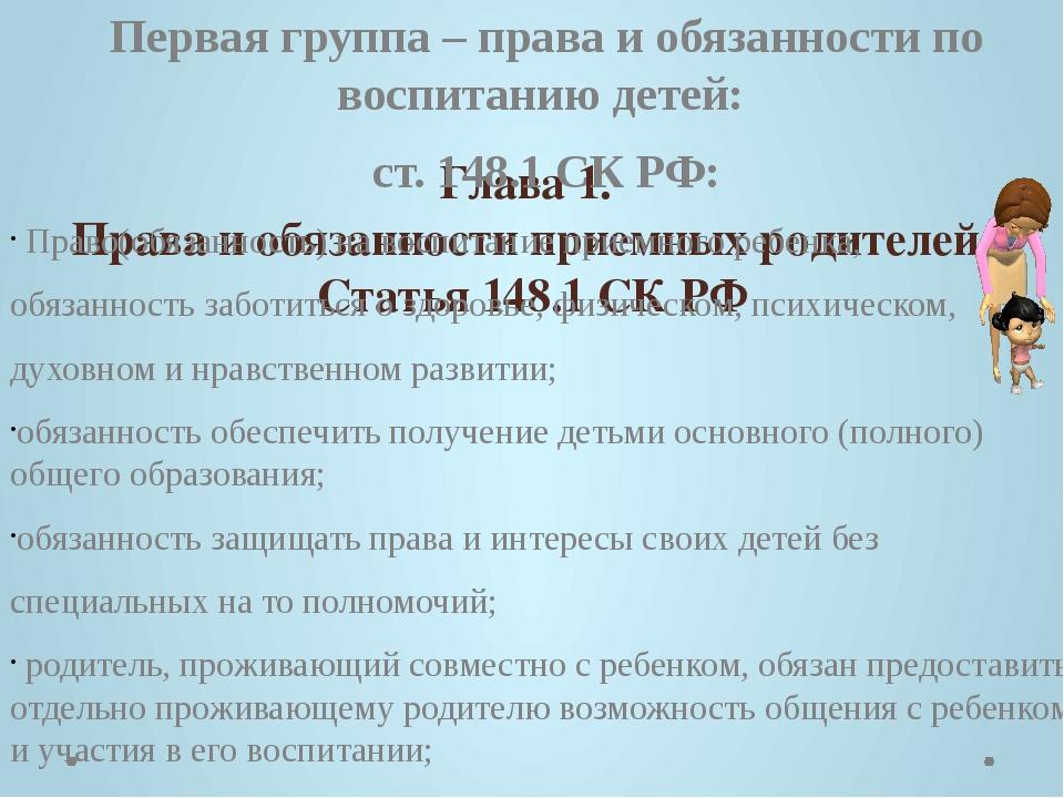 Глава 1. Права и обязанности приемных родителей. Статья 148.1 СК РФ Первая г...