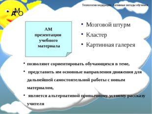 Мозговой штурм Кластер Картинная галерея АМ презентации учебного материала по