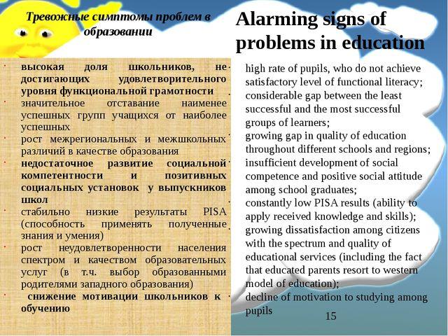 Тревожные симптомы проблем в образовании высокая доля школьников, не достигаю...