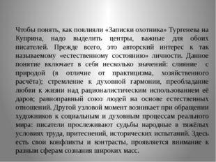 Чтобы понять, как повлияли «Записки охотника» Тургенева на Куприна, надо выд