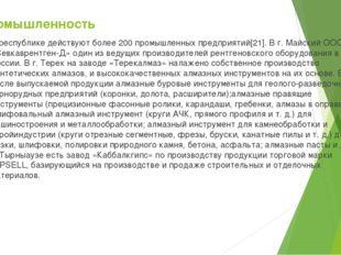 Промышленность В республике действуют более 200 промышленных предприятий[21].