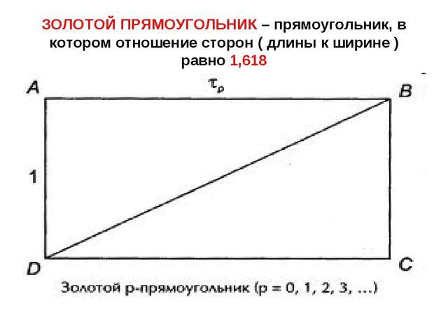 ЗОЛОТОЙ ПРЯМОУГОЛЬНИК – прямоугольник, в котором отношение сторон ( длины к ш...