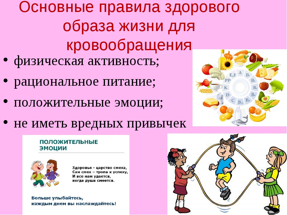 Основные правила здорового образа жизни для кровообращения физическая активно...