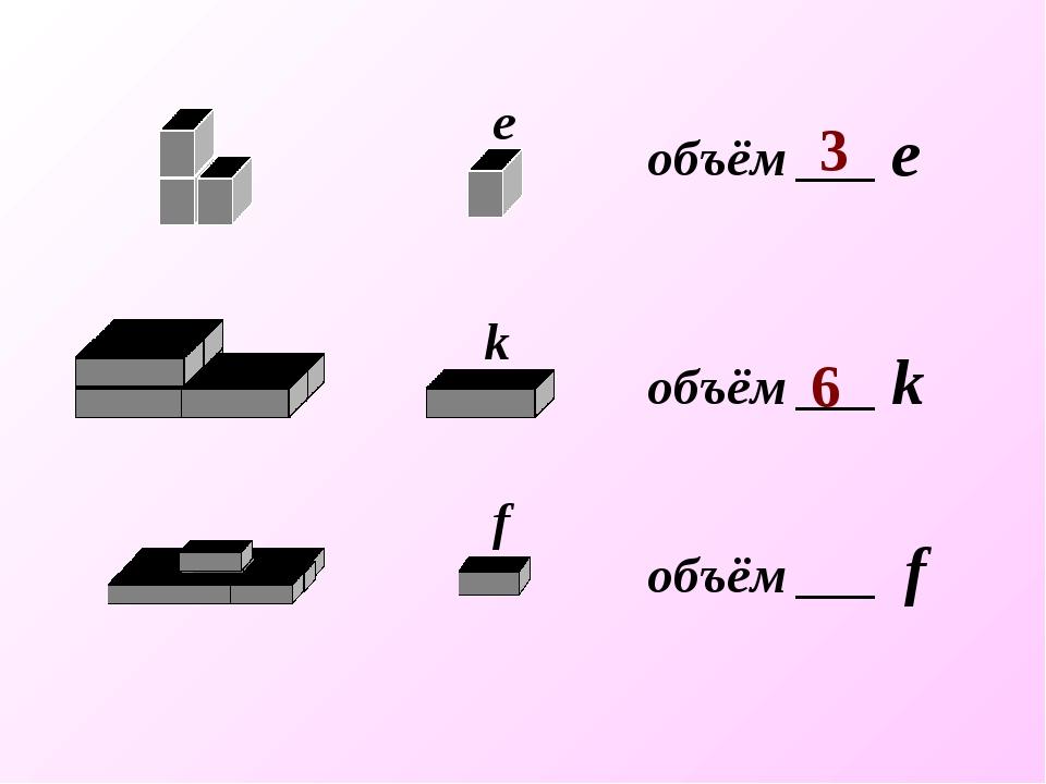 объём ___ f объём ___ k объём ___ е 3 6 е k f