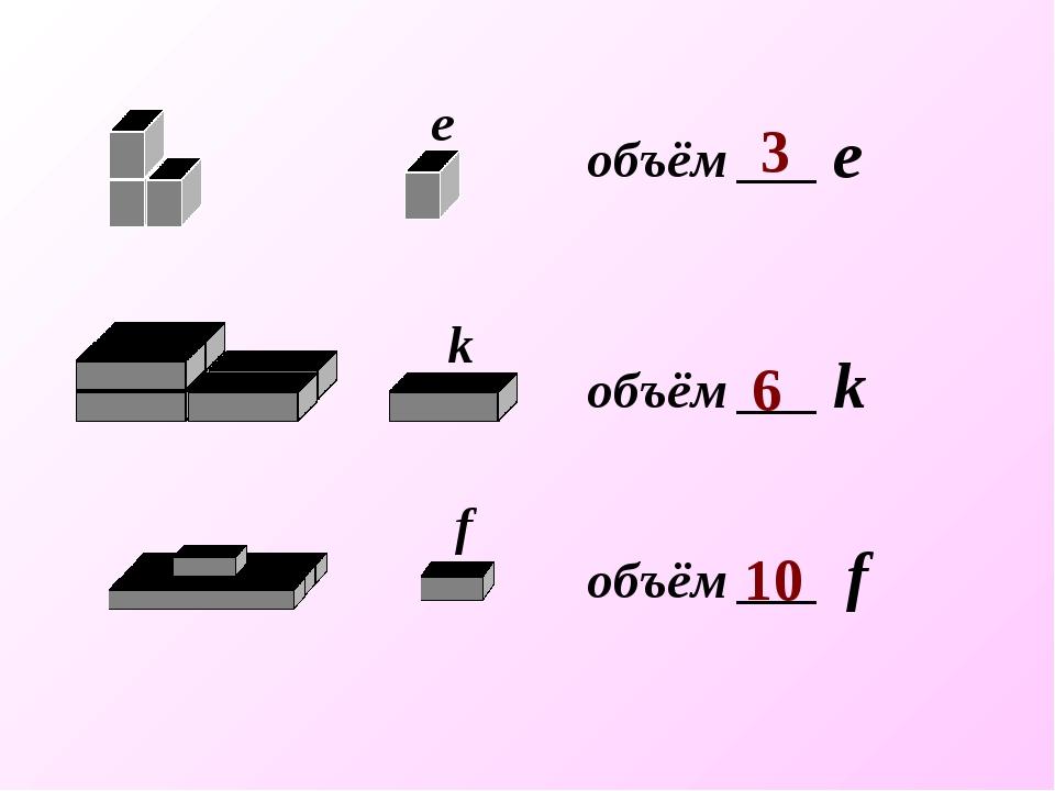 объём ___ f объём ___ k объём ___ е 3 6 10 е k f