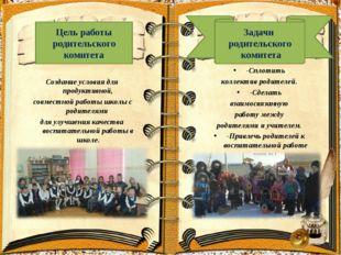Создание условия для продуктивной, совместной работы школы с родителями для