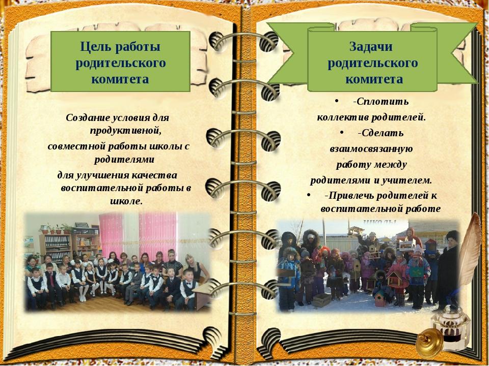 Создание условия для продуктивной, совместной работы школы с родителями для...