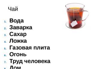 Чай Вода Заварка Сахар Ложка Газовая плита Огонь Труд человека Дом Стол и так
