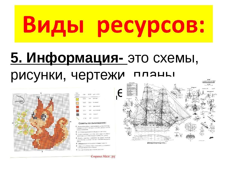 5. Информация- это схемы, рисунки, чертежи, планы, инструкции, рецепты и так...