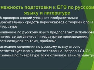 Смежность подготовки к ЕГЭ по русскому языку и литературе В8 проверка знаний