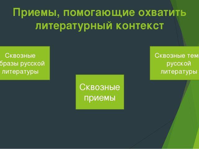 Приемы, помогающие охватить литературный контекст Сквозные образы русской лит...
