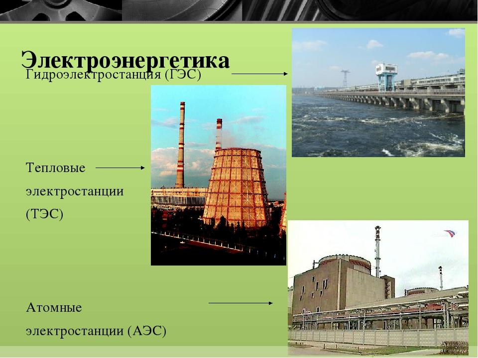 Электроэнергетика Гидроэлектростанция (ГЭС) Тепловые электростанции (ТЭС) Ат...